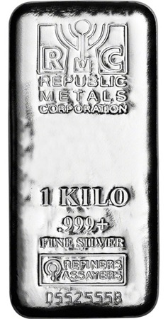 sztabki srebra Republic Metals Corporation 1kg (24h)